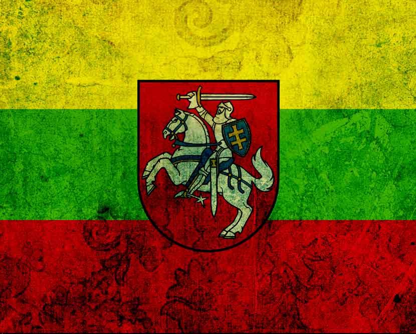 סמל ליטא על רקע דגל ליטא